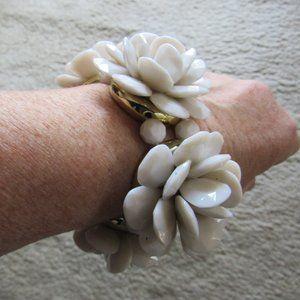 Vintage White Plastic Corsage Bracelet